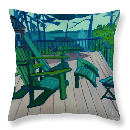 Ocean Throw Pillow featuring the painting Adirondack Chairs Maine by Debra Bretton Robinson