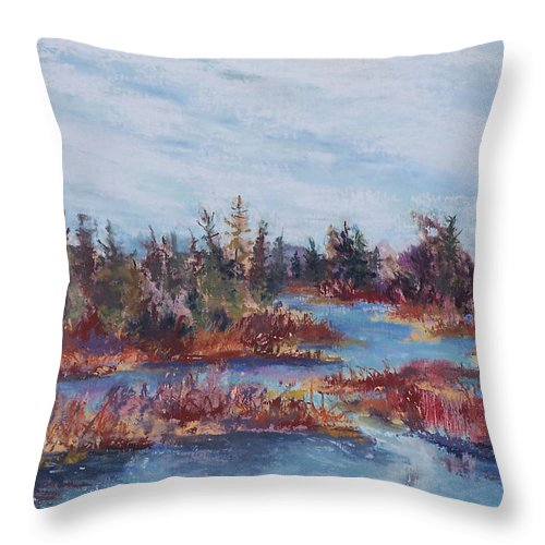 Old Forge Throw Pillow featuring the pastel Adirondak Concerto by Alicia Drakiotes