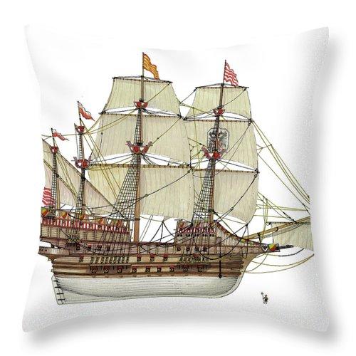 Adler Von Lubeck Throw Pillow featuring the drawing Adler von Lubeck by The Collectioner