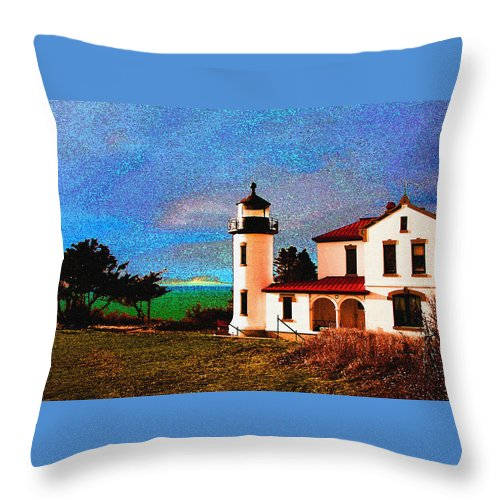 Lighthouse Throw Pillow featuring the photograph Admiralty Head Lighthouse Dp15 by Mary Gaines