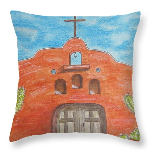 Adobe Throw Pillow featuring the painting Adobe Church And Cactus by Kathy Marrs Chandler