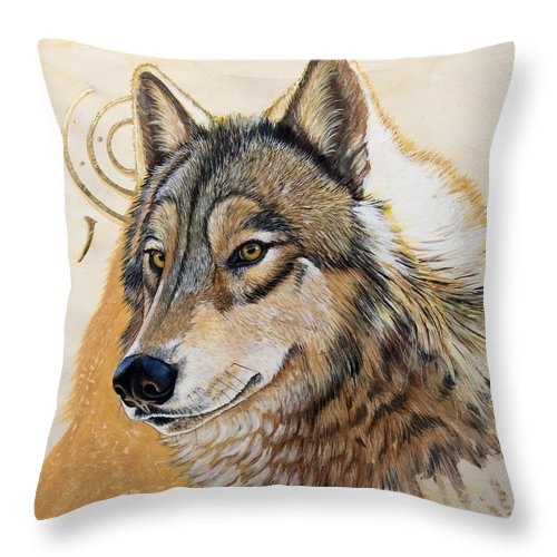 Acrylics Throw Pillow featuring the painting Adobe Gold by Sandi Baker