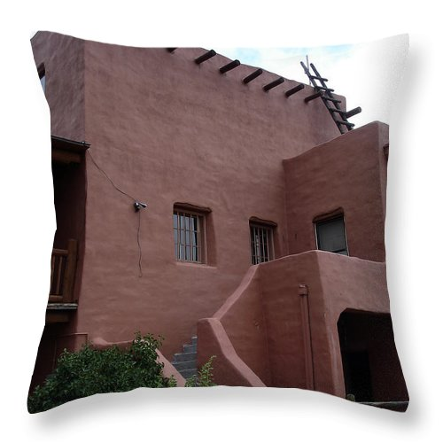 Santa Fe Throw Pillow featuring the photograph Adobe House At Red Rocks Colorado by Merja Waters