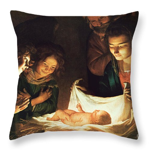 Adoration Of The Baby Throw Pillow featuring the painting Adoration Of The Baby by Gerrit van Honthorst