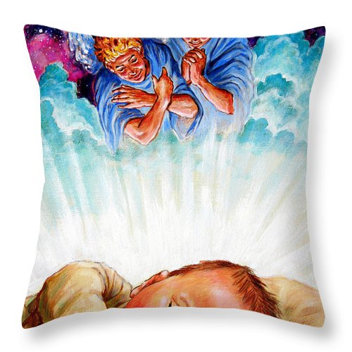 Baby Jesus Throw Pillow featuring the painting Adore Your Saviour by John Lautermilch