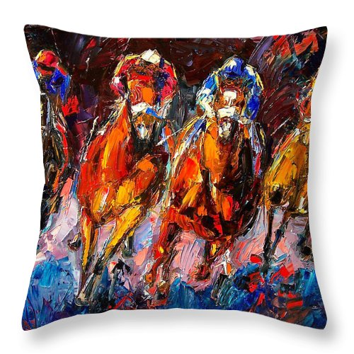 Horse Race Throw Pillow featuring the painting Adrenaline by Debra Hurd