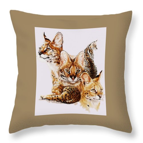 Serval Throw Pillow featuring the drawing Adroit by Barbara Keith