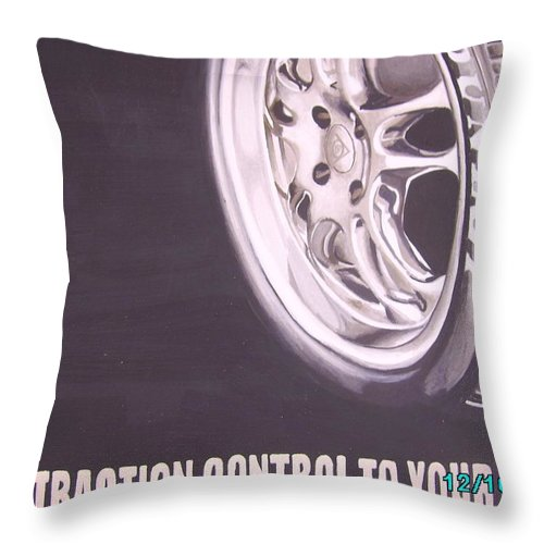 Wheel Throw Pillow featuring the digital art Adverts On Tyres by Olaoluwa Smith
