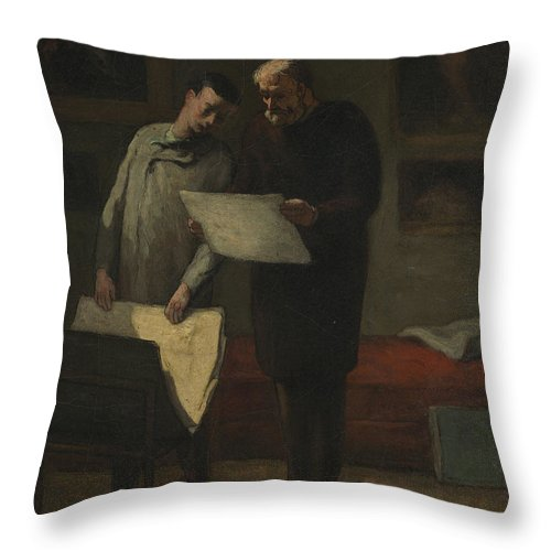 Throw Pillow featuring the painting Advice To A Young Artist by Honor? Daumier