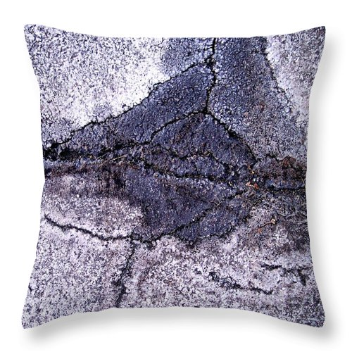 Abstract Obscure White Gray Black Modern Throw Pillow featuring the photograph Aerial Asphalt 5 by Anna Villarreal Garbis