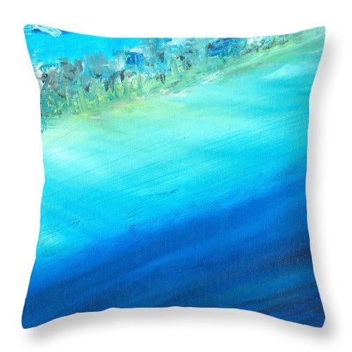 Seashore Throw Pillow featuring the painting Aerial Coastline by Jorge Delara