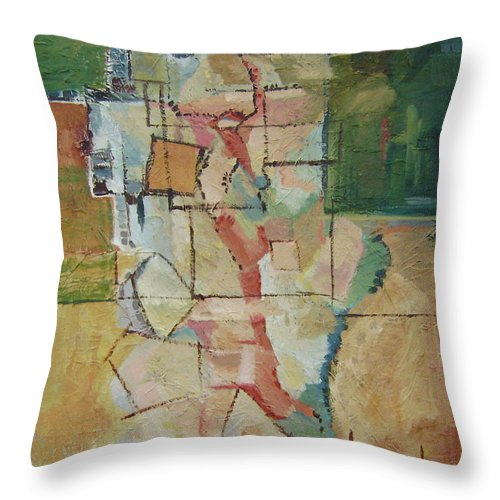 Abstract Art Throw Pillow featuring the painting Aerial by Ginger Concepcion