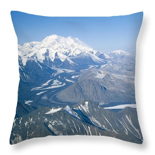 North America Throw Pillow featuring the photograph Aerial Of Mount Mckinley by Rich Reid