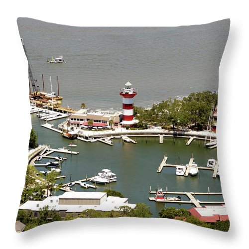 Aerial View Harbour Town Lighthouse In Hilton Head Island Throw Pillow featuring the photograph Aerial View Harbour Town Lighthouse In Hilton Head Island by Carol Highsmith