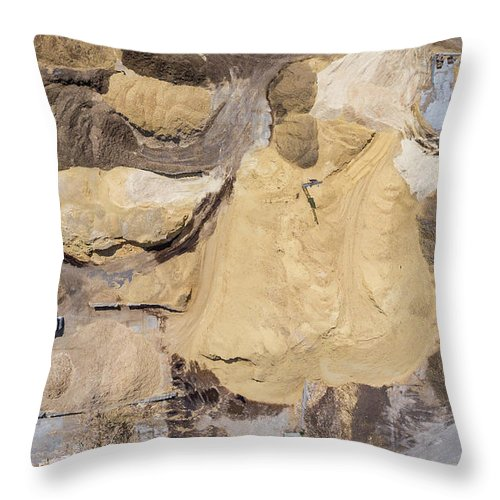 Above Throw Pillow featuring the photograph Aerial View Over The Sandpit. Industrial Place In Poland. by Mariusz Prusaczyk