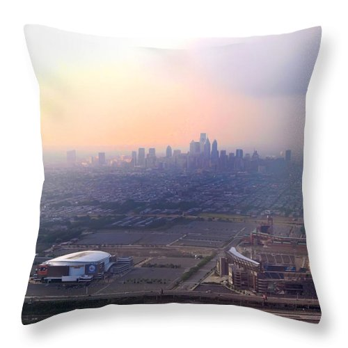 Sports Throw Pillow featuring the photograph Aerial View - Philadelphia's Stadiums With Cityscape by Bill Cannon