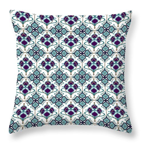 Blue Pattern Throw Pillow featuring the digital art Aerin by Ceil Diskin