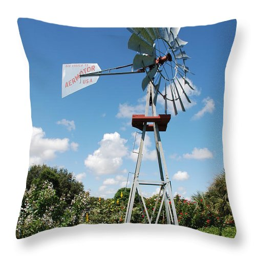 Blue Throw Pillow featuring the photograph Aeromotor Windmill by Rob Hans