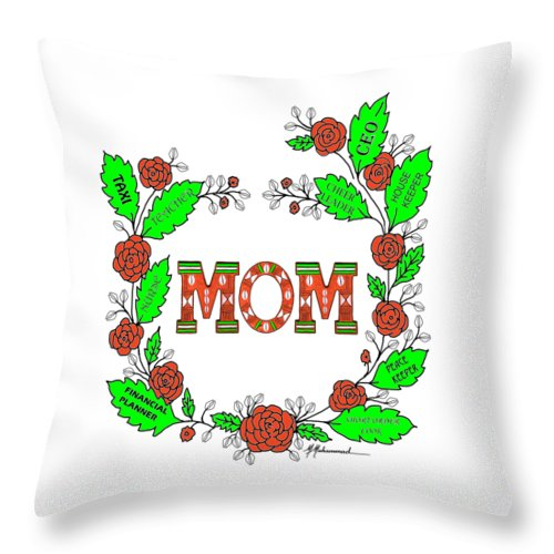 Mom Throw Pillow featuring the painting    Super Mom by Marcella Muhammad