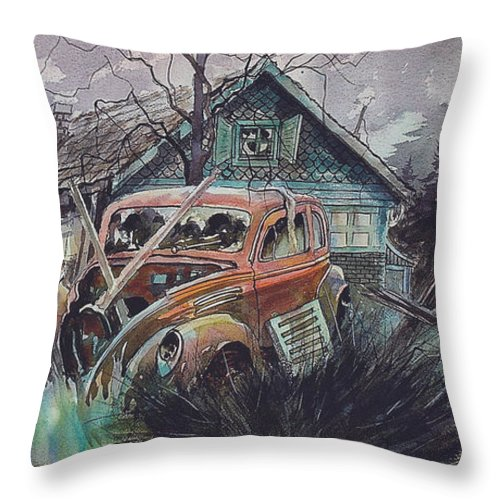 Ford Throw Pillow featuring the painting Affordable by Ron Morrison