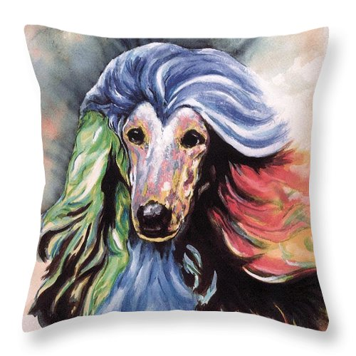 Afghan Hound Throw Pillow featuring the painting Afghan Storm by Kathleen Sepulveda