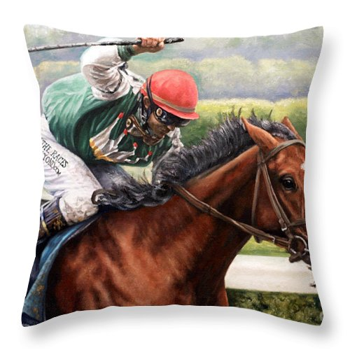 Throw Pillow featuring the painting Afleet Alex by Thomas Allen Pauly