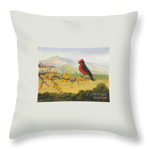 Tusca Tree Throw Pillow featuring the painting Afrechero Purpureo by Juan Enrique Marquez
