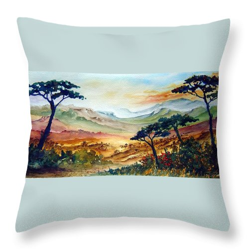 Africa Throw Pillow featuring the painting Africa by Jo Smoley