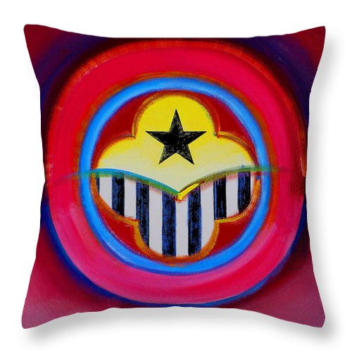 Button Throw Pillow featuring the painting African American by Charles Stuart