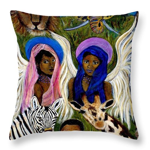 Angels Throw Pillow featuring the painting African Angels by The Art With A Heart By Charlotte Phillips