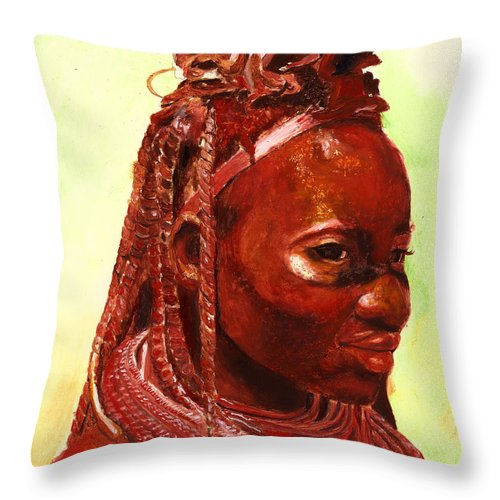 People Portrait Throw Pillow featuring the painting African Beauty by Enzie Shahmiri