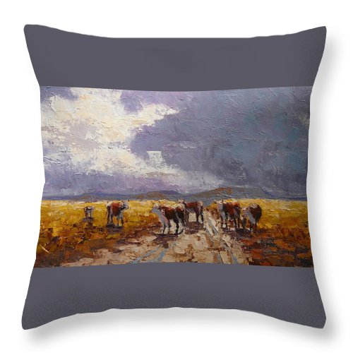 Landscape Throw Pillow featuring the painting African Cattel by Yvonne Ankerman