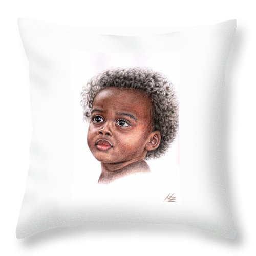Child Throw Pillow featuring the drawing African Child by Nicole Zeug