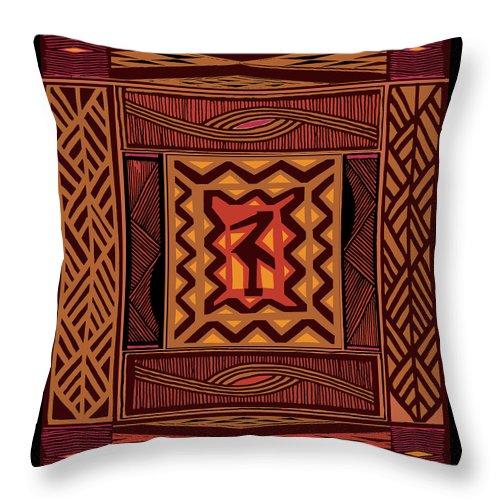 African Collage Rust Throw Pillow featuring the digital art African Collage Rust by Vagabond Folk Art - Virginia Vivier
