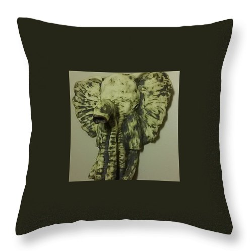 Ceramic Throw Pillow featuring the ceramic art African Elephant by Kelly Eberhardt