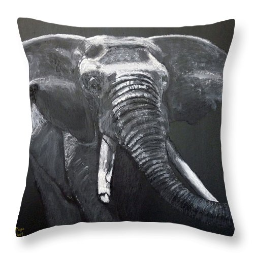 Elephant Throw Pillow featuring the painting African Elephant by Richard Le Page