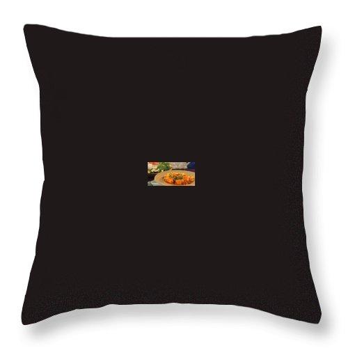 Throw Pillow featuring the digital art African Food Network by African Food Network