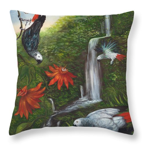 Landscape Throw Pillow featuring the painting African Grays by Anne Kushnick