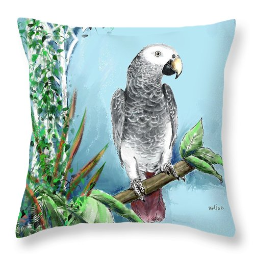 Birds Throw Pillow featuring the digital art African Grey Parrot by Arline Wagner