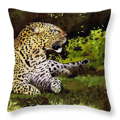 Leopard Throw Pillow featuring the painting African Leopard by Paul Dene Marlor
