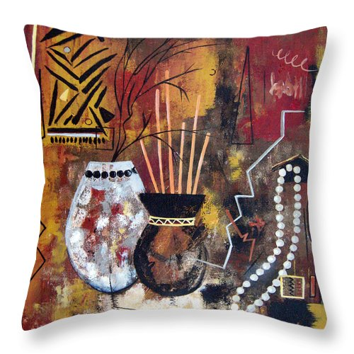 Abstract Throw Pillow featuring the painting African Perspective by Ruth Palmer