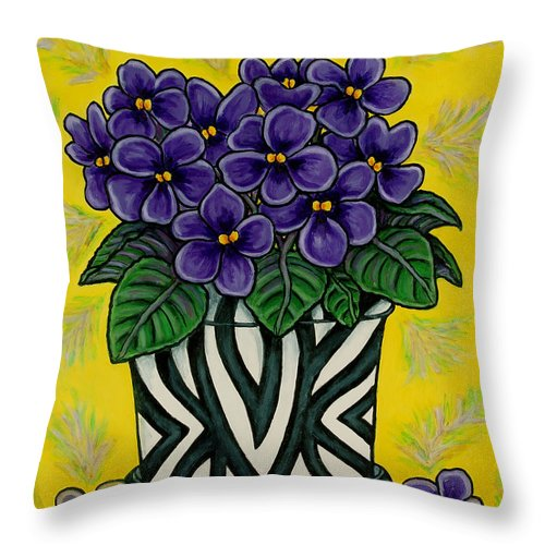 Violets Throw Pillow featuring the painting African Queen by Lisa Lorenz