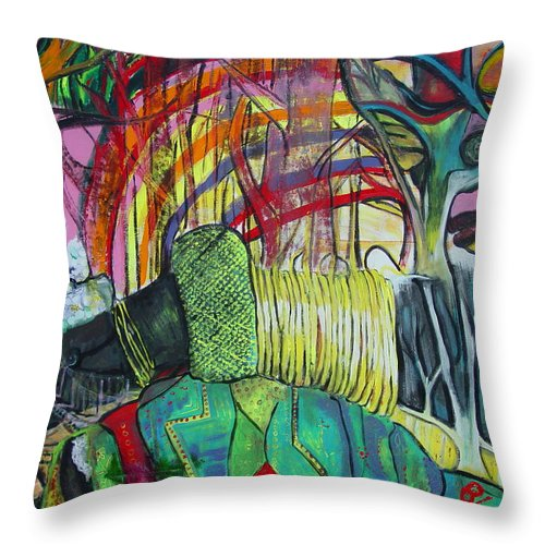 African Lady With Baby Throw Pillow featuring the painting African Roots by Peggy Blood