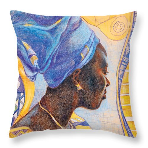 Portrait Fantasy Throw Pillow featuring the drawing African Secession by Bernadett Bagyinka