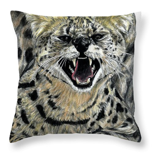 Serval Throw Pillow featuring the drawing African Serval by Dan Pearce