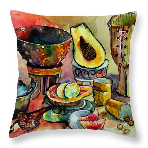 Life Throw Pillow featuring the painting African Still Life by Yelena Tylkina