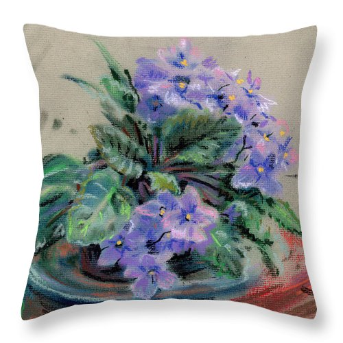 African Violets Throw Pillow featuring the drawing African Violet by Donald Maier