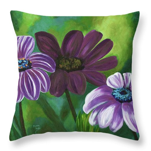 Floral Throw Pillow featuring the painting African Violets by Donna Drake
