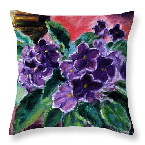 African Violets Throw Pillow featuring the painting African Violets by John Lautermilch