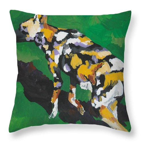 Wild Dog Throw Pillow featuring the painting African Wild Dog by Caroline Davis